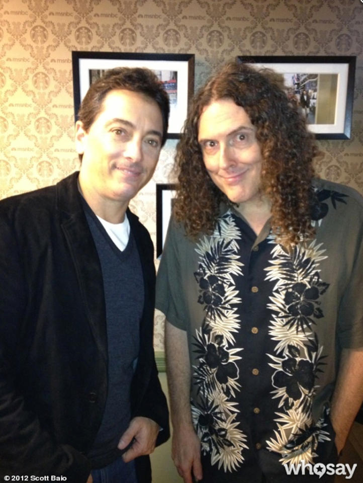 """If you've been wondering what either Weird Al Yankovic or Scott Baio have been up to these days, well, they're apparently running in the same circle. <span>""""After running into @<a href=""""http://twitter.com/alyankovic"""" target=""""_blank"""">alyankovic</a> 3 times, I thought I'd get my picture with him! Lol,"""" Scott wrote on his <a target=""""_blank"""" href=""""http://www.whosay.com/scottbaio/photos/238808"""">WhoSay page</a> on Monday. Al was in New York doing publicity for his latest book, aptly titled """"Weird Al: The Book,"""" and signed a copy for Scott's daughter, Bailey, 4. <br></span>"""