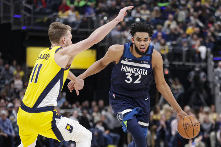 Despite his big night, Karl-Anthony Towns' return wasn't enough to lead the Timberwolves past the Pacers. (AP/Michael Conroy)
