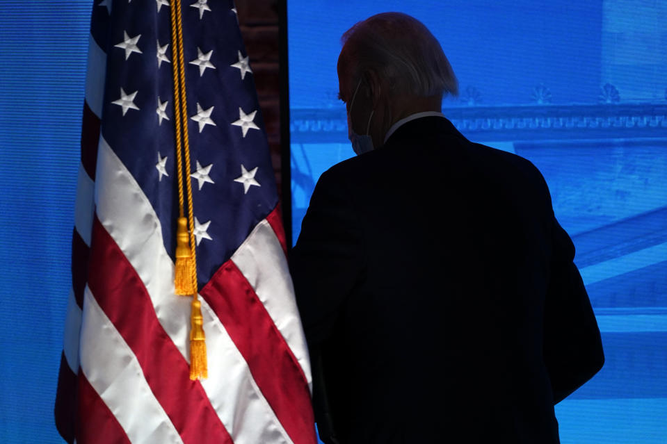 President-elect Joe Biden walks from the stage after speaking during an event at The Queen theater in Wilmington, Del., Thursday, Jan. 7, 2021, to announce key nominees for the Justice Department. (AP Photo/Susan Walsh)