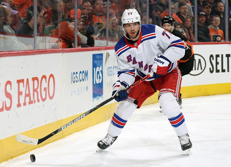 Anthony DeAngelo #77 of the New York Rangers