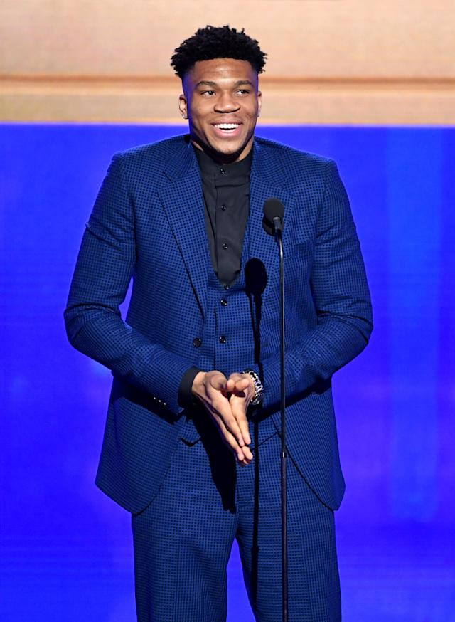 SANTA MONICA, CALIFORNIA - JUNE 24: Giannis Antetokounmpo accepts the Kia NBA Most Valuable Player award onstage during the 2019 NBA Awards presented by Kia on TNT at Barker Hangar on June 24, 2019 in Santa Monica, California. (Photo by Kevin Winter/Getty Images for Turner Sports)