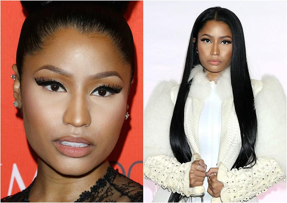 <p>What a stunner underneath all that makeup! Nicki still has a flare for the dramatic, but she lets her natural beauty shine through with neutral makeup and her natural hair colour. <i> (Photos: Getty) </i> </p>
