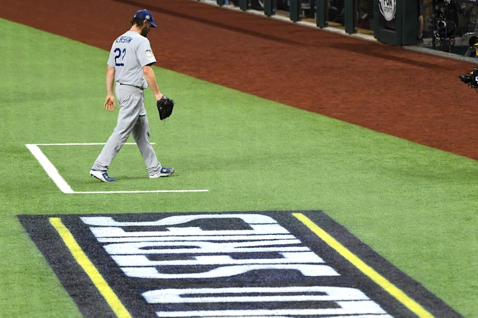 Clayton Kershaw walks to the dugout after pitching 5 2/3 innings for the Dodgers.