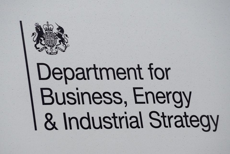 Signage for the Department of Business, Energy & Industrial Strategy in Westminster, London (Kirsty O'Connor/PA) (PA Archive)