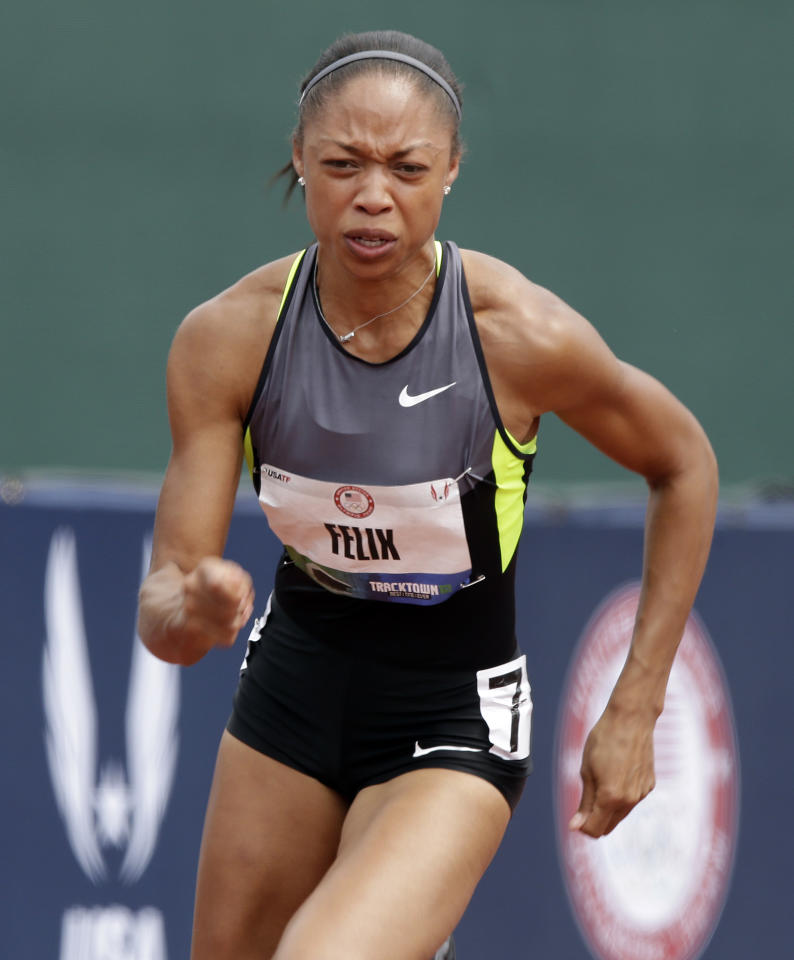 Allyson Felix starts her heat in the women's 200 meter semi-finals at the U.S. Olympic Track and Field Trials Friday, June 29, 2012, in Eugene, Ore. (AP Photo/Charlie Riedel)