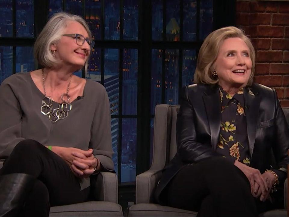 Louise Penny and Hillary Clinton on 'Late Night with Seth Meyers' (YouTube/Late Night with Seth Meyers)