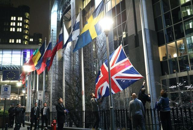 The Union flag being taken down outside the European Parliament in Brussels