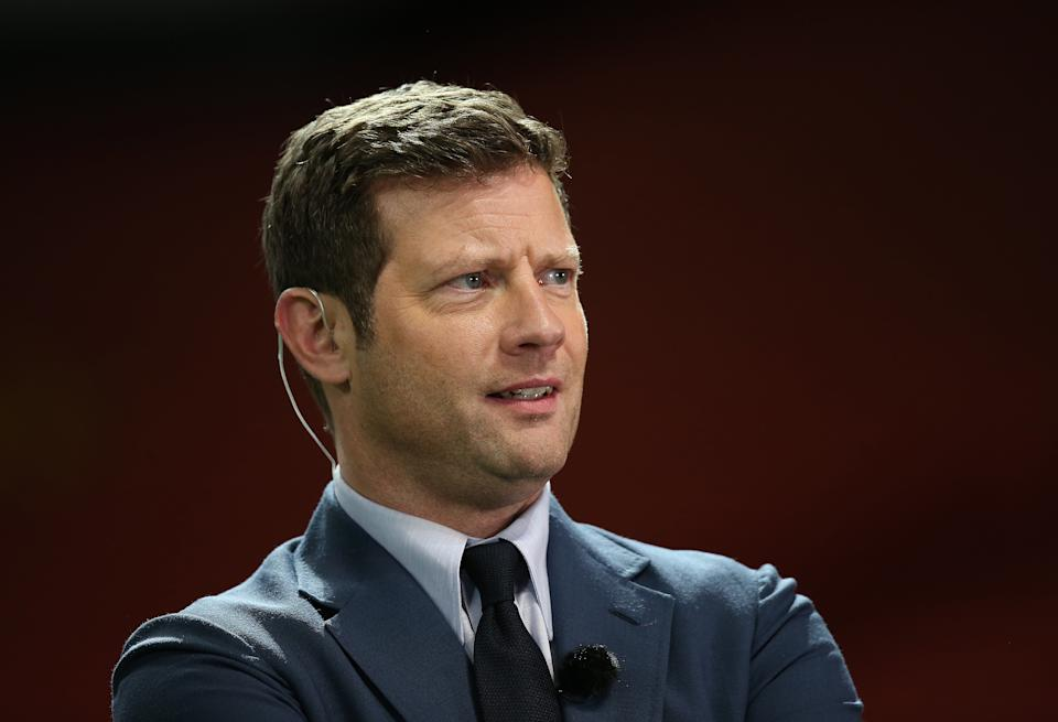 MANCHESTER, ENGLAND - SEPTEMBER 06: TV presenter Dermot O'Leary watches during the Soccer Aid for Unicef 2020 match between England and Rest of the World at Old Trafford on September 06, 2020 in Manchester, England. (Photo by John Peters/Manchester United via Getty Images)
