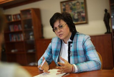 Ninova, leader of the Bulgarian Socialist party, speaks during an interview with Reuters in Sofia