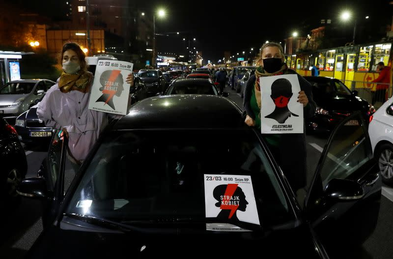 Protest against imposing further restrictions on abortion law, in Warsaw