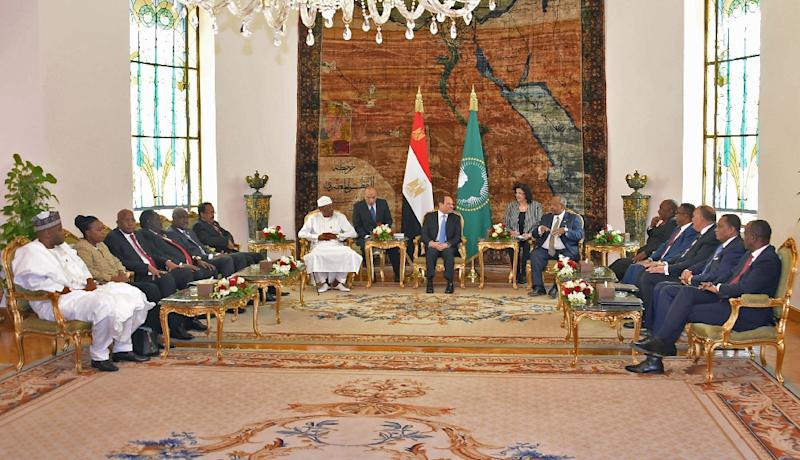 A handout picture provided by the Egyptian presidency President Abdel Fattah al-Sisi (C) hosting African leaders for summit talks on the upheaval in Sudan and Libya on Tuesday (AFP Photo/Handout)
