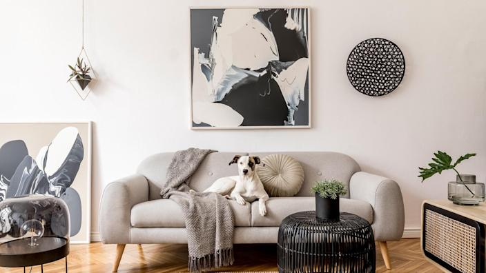 Interior design of living room at nice scandinavian apartment with stylish furnitures and elegant accessories.
