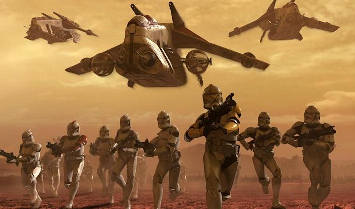 The Clone Army of the Republic, making their first appearance in Attack of the Clones.