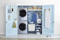"""<p>Make a small, hardworking space feel extra airy by adding a sky-inspired shade of paint—try <a href=""""https://www.benjaminmoore.com/en-us/color-overview/find-your-color/color/1639/windy-sky"""" rel=""""nofollow noopener"""" target=""""_blank"""" data-ylk=""""slk:Windy Sky"""" class=""""link rapid-noclick-resp"""">Windy Sky</a> or <a href=""""https://www.benjaminmoore.com/en-us/color-overview/find-your-color/color/806/breath-of-fresh-air?color=806"""" rel=""""nofollow noopener"""" target=""""_blank"""" data-ylk=""""slk:Breath of Fresh Air"""" class=""""link rapid-noclick-resp"""">Breath of Fresh Air</a> (both by Benjamin Moore) or <a href=""""https://www.sherwin-williams.com/homeowners/color/find-and-explore-colors/paint-colors-by-family/SW2863-powder-blue"""" rel=""""nofollow noopener"""" target=""""_blank"""" data-ylk=""""slk:Sherwin-Williams' Powder Blue"""" class=""""link rapid-noclick-resp"""">Sherwin-Williams' Powder Blue</a>. <br></p>"""
