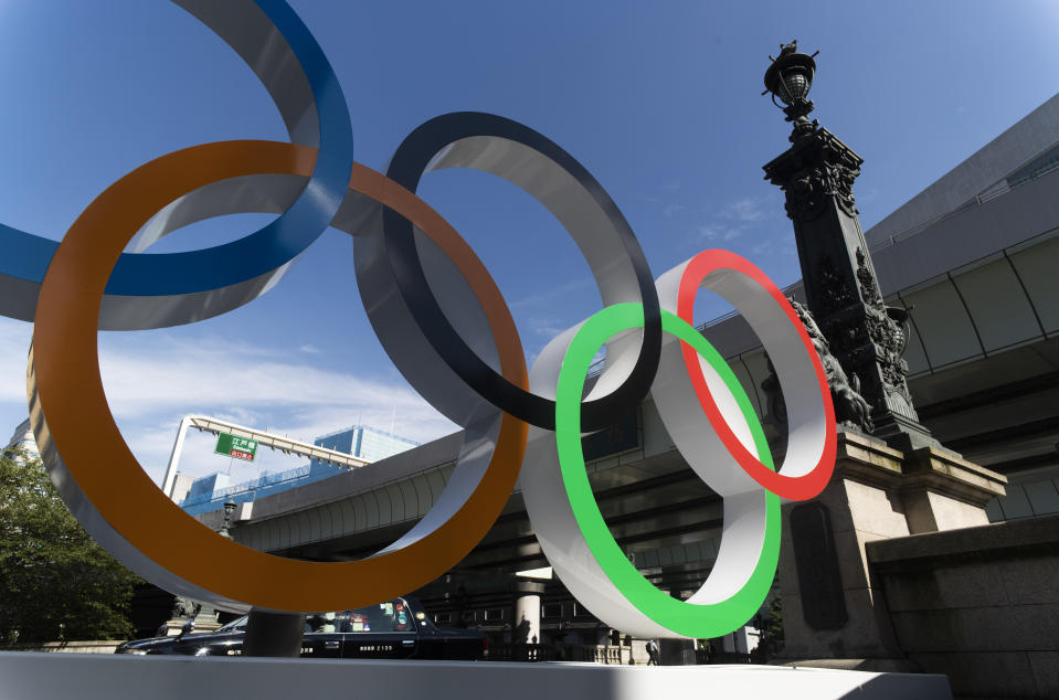 This photo shows the Olympic rings installed by the Nippon Bashi bridge in Tokyo on Thursday, July 15, 2021. (AP Photo/Hiro Komae)