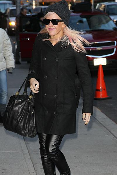 """<div class=""""caption-credit""""> Photo by: Getty Images</div><div class=""""caption-title"""">Arriving at David Letterman in January</div>Ellie nails cold-weather dressing in a monochrome outfit by switching up textures. A pair of leather-look leggings under a snuggly looking pea coat are the perfect answer to staying warm and looking cool."""