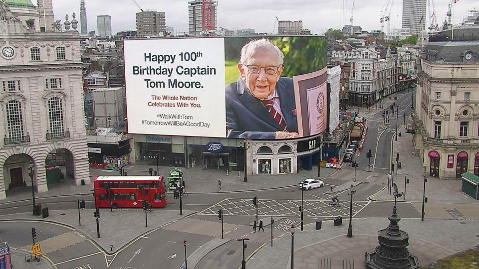 Handout photo of a tribute to World War Two veteran Captain Tom Moore displayed on lights in London's Piccadilly Circus on his 100th birthday.