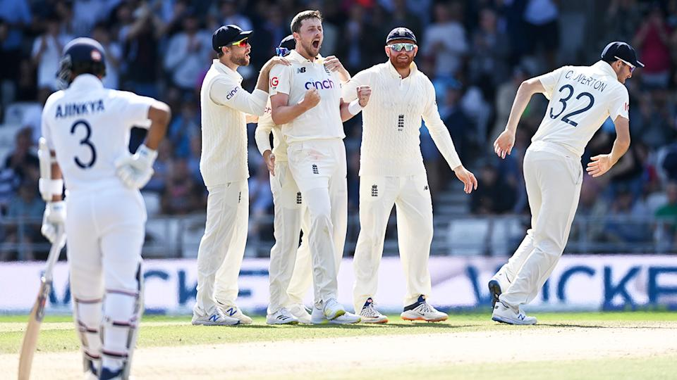 Ollie Robinson, pictured here celebrating after dismissing Virat Kohli in the third Test between England and India.