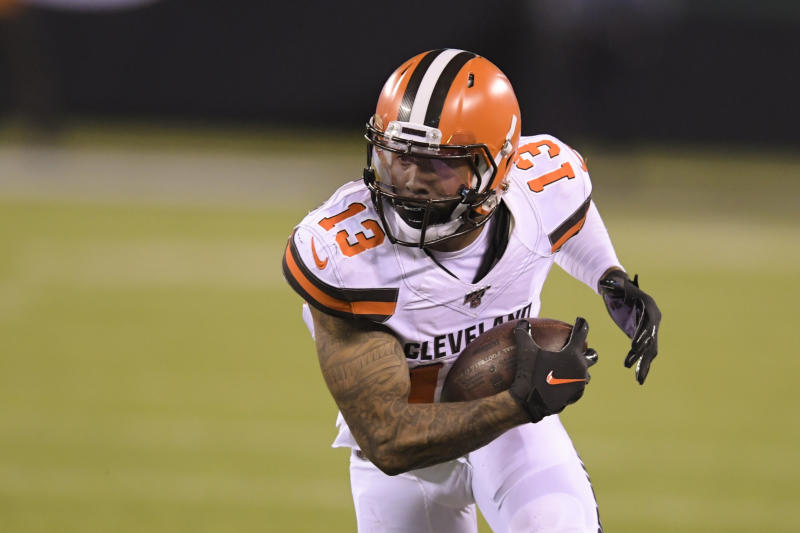 Cleveland Browns' Odell Beckham (13) runs during the second half of an NFL football game against the New York Jets, Monday, Sept. 16, 2019, in East Rutherford, N.J. (AP Photo/Bill Kostroun)