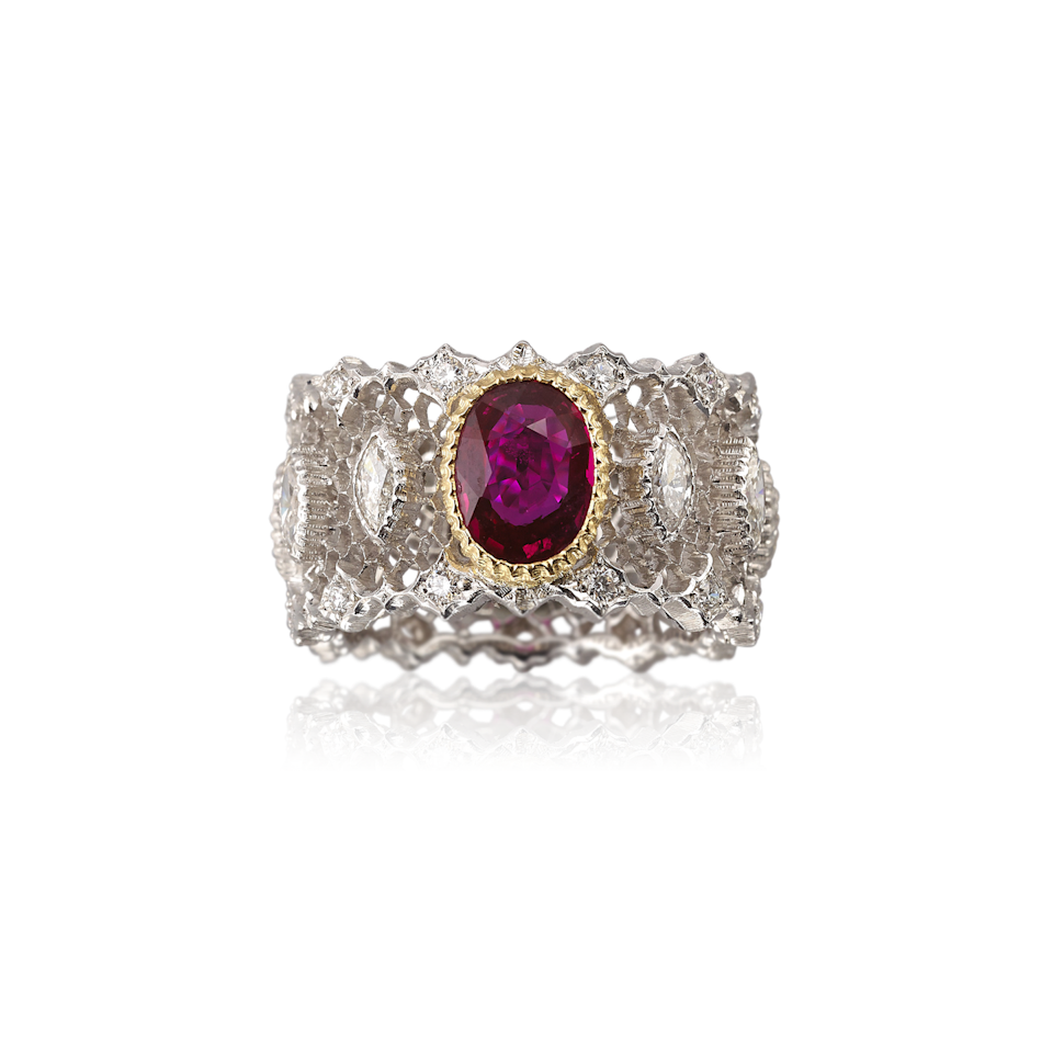 "<p>Inspired by the past, but undeniably current given its statement-stack-style, this ring captures the perfect mix of something old and something new, with an ovel ruby set in the center of white and yellow gold.</p><p><em>Ruby and diamond ring, price upon request, <a href=""https://us.buccellati.com/en"" rel=""nofollow noopener"" target=""_blank"" data-ylk=""slk:buccellati.com"" class=""link rapid-noclick-resp"">buccellati.com</a>.</em></p><p><a class=""link rapid-noclick-resp"" href=""https://us.buccellati.com/en/jewelry/band-rings/band-ring-9"" rel=""nofollow noopener"" target=""_blank"" data-ylk=""slk:SHOP"">SHOP</a> </p>"
