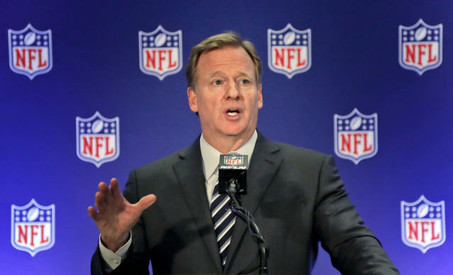 NFL commissioner Roger Goodell and two other league executives have been deposed in the Colin Kaepernick collusion case. (AP)