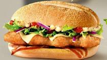 Austrian Mcdonald's McRibster, a fried version of the popular McRib sandwich, is shown here.