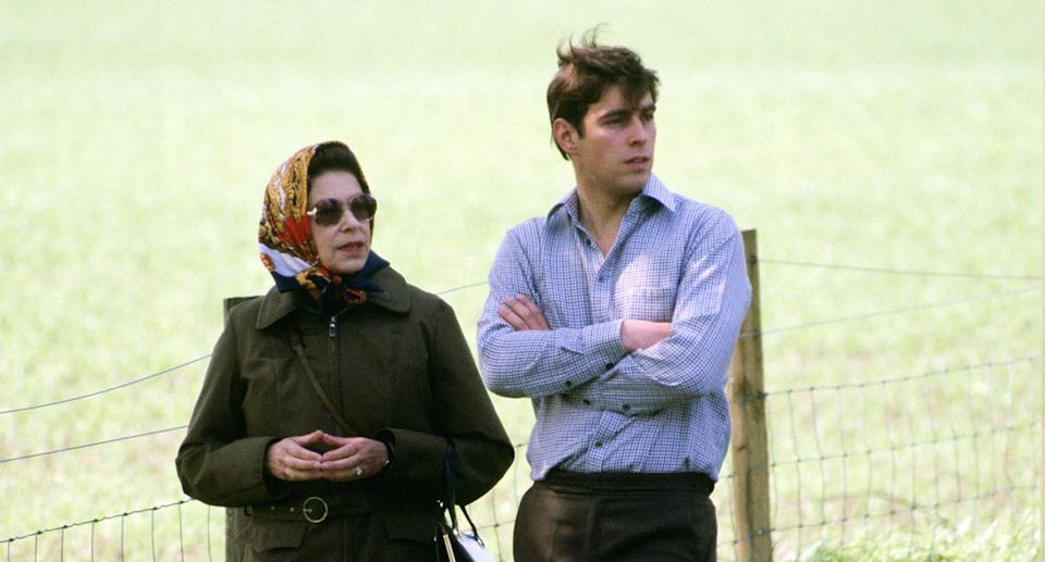 The Queen and Andrew at Windsor Horse Show in 1980. (Getty Images)