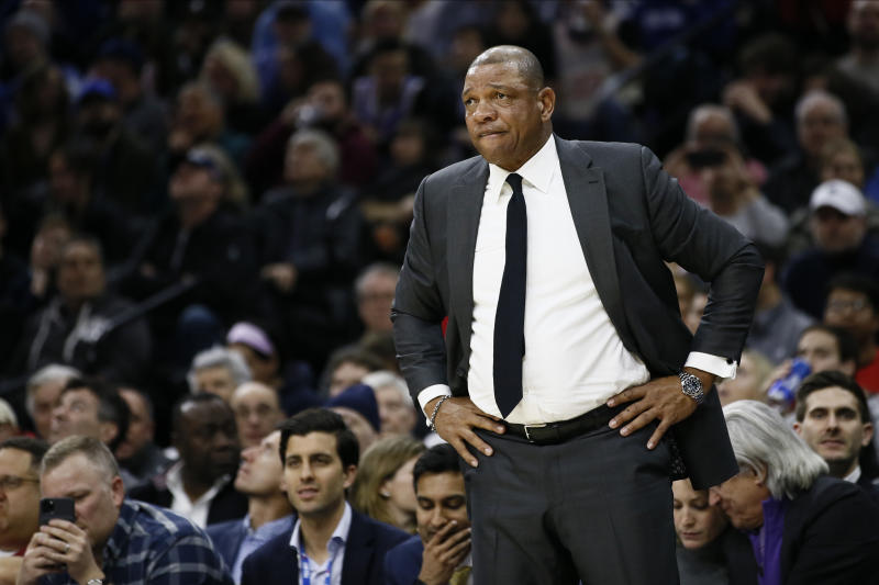Los Angeles Clippers' Doc Rivers coaches during an NBA basketball game against the Philadelphia 76ers, Tuesday, Feb. 11, 2020, in Philadelphia. (AP Photo/Matt Slocum)