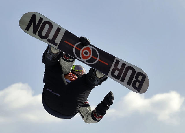 Mark McMorris, of Canada, jumps during the men's slopestyle final at Phoenix Snow Park at the 2018 Winter Olympics in Pyeongchang, South Korea, Sunday, Feb. 11, 2018. (AP Photo/Gregory Bull)