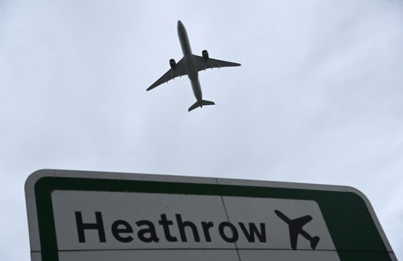 FILE PHOTO: Aircraft takes off at Heathrow Airport amid COVID-19 pandemic in London