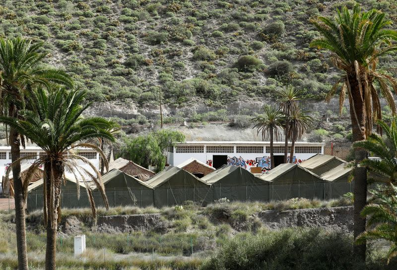 Spanish military set up a camp in the island of Gran Canaria in order to transfer migrants stranded at the Arguineguin port