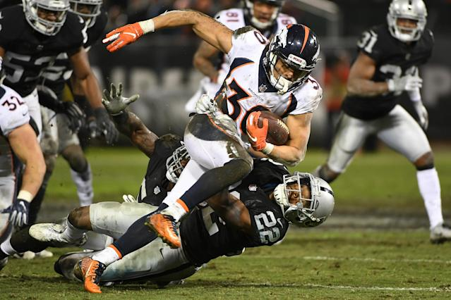 Denver Broncos RB Phillip Lindsay suffered a season-ending wrist injury in Monday's night game against the Raiders. (Getty Images)