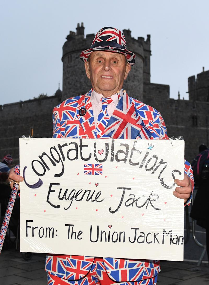 "The ""Union Jack Man"" camping out before the royal wedding."