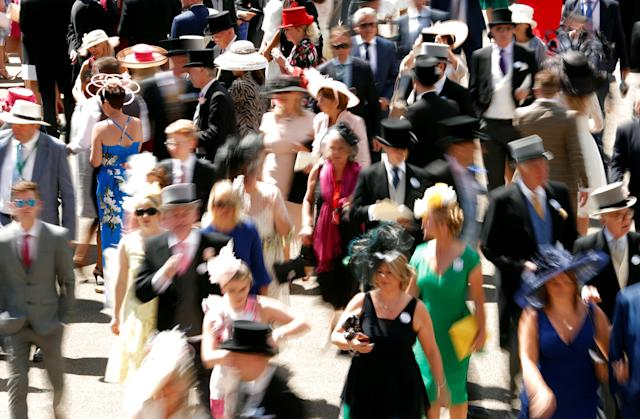 Horse Racing - Royal Ascot - Ascot Racecourse, Ascot, Britain - June 21, 2018 General view of racegoers before the start of the racing Action Images via Reuters/Andrew Boyers