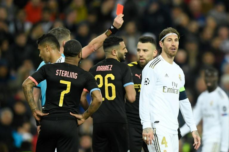 Real Madrid captain Sergio Ramos will miss the second leg with Manchester City after being sent-off