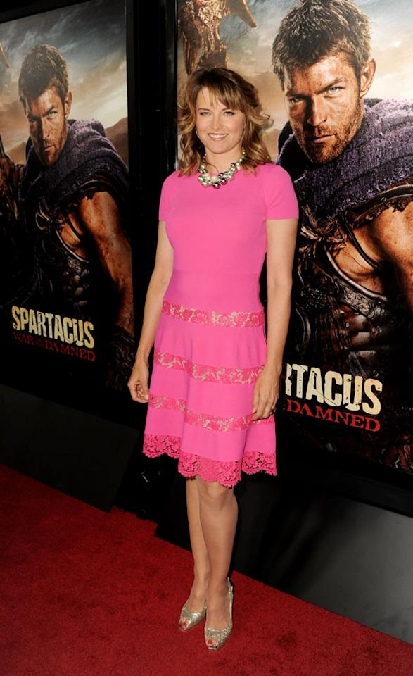 """Lucy Lawless attends the premiere of Starz's """"Spartacus: War of the Damned"""" at Regal Cinemas L.A. Live on January 22, 2013 in Los Angeles, California."""
