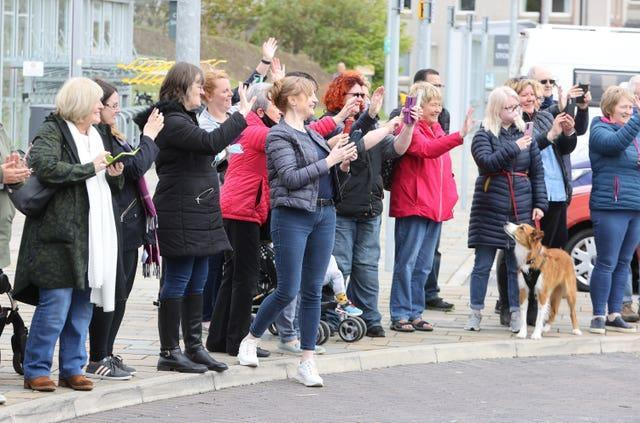 Crowds gathered to greet the royals