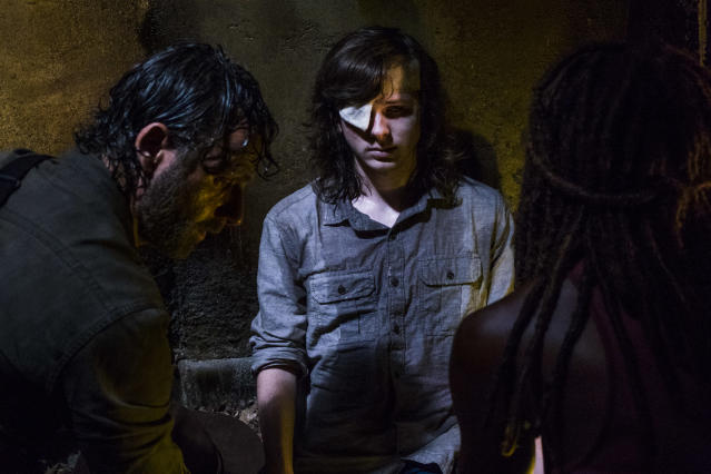 <p>Andrew Lincoln as Rick Grimes, Chandler Riggs as Carl Grimes, Danai Gurira as Michonne in AMC's <i>The Walking Dead</i>.<br>(Photo: Gene Page/AMC) </p>