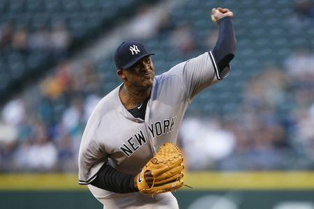 Aug 23, 2016; Seattle, WA, USA; New York Yankees starting pitcher CC Sabathia (52) throws against the Seattle Mariners during the first inning at Safeco Field. Mandatory Credit: Joe Nicholson-USA TODAY Sports / Reuters Picture Supplied by Action Images