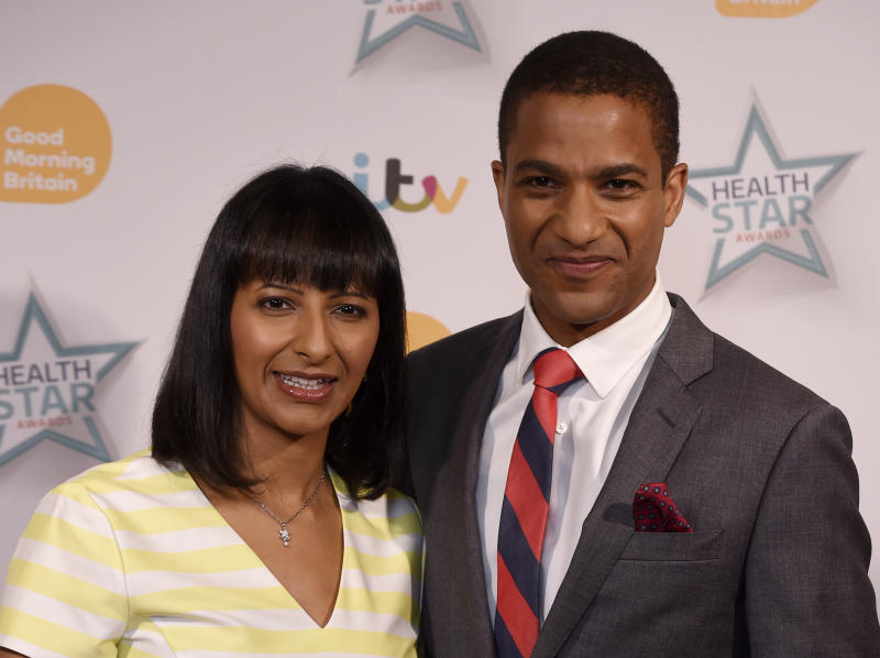 Sean Fletcher and Ranvir Singh (left) arriving at the Good Morning Britain's Health Star Awards at the London Hilton on Park Lane, London.