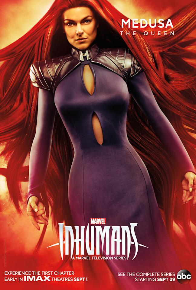 "<p>Though raised as royalty from birth, Medusa's role as queen and interpreter for Black Bolt, her husband, isn't quite what she expected. ""Through the course of the season,"" says show creator Scott Buck, ""we see her find her own strength and better decide what she wants to do and what she wants to be.""<br /><br />(Photo: MARVEL) </p>"