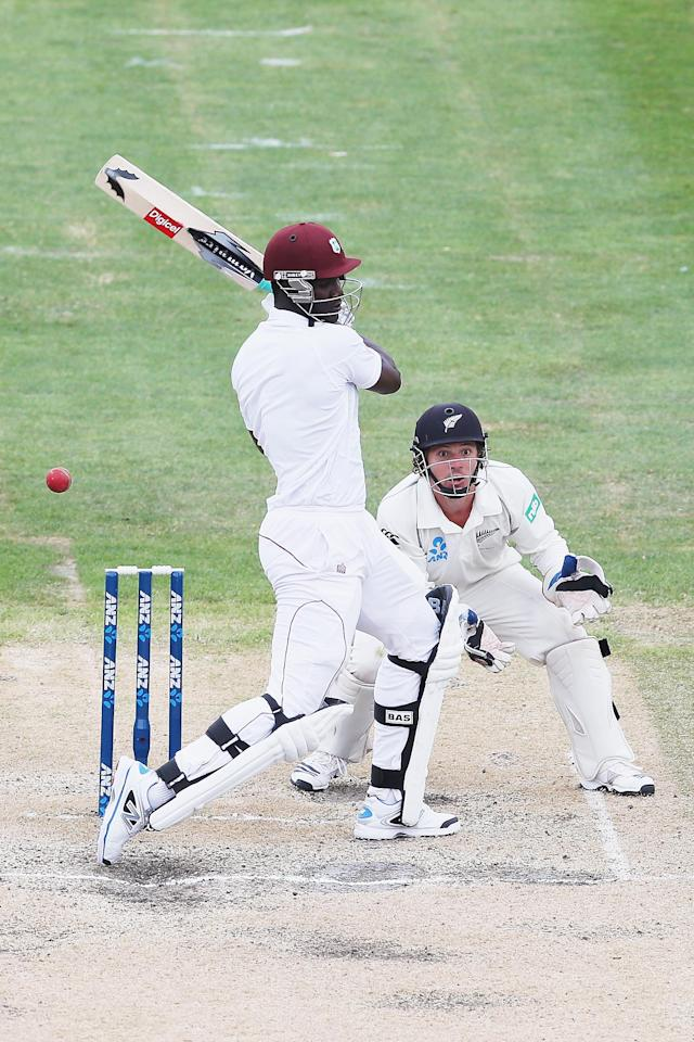 DUNEDIN, NEW ZEALAND - DECEMBER 06: Darren Sammy of the West Indies misses the ball during day four of the first test match between New Zealand and the West Indies at University Oval on December 6, 2013 in Dunedin, New Zealand. (Photo by Hannah Johnston/Getty Images)