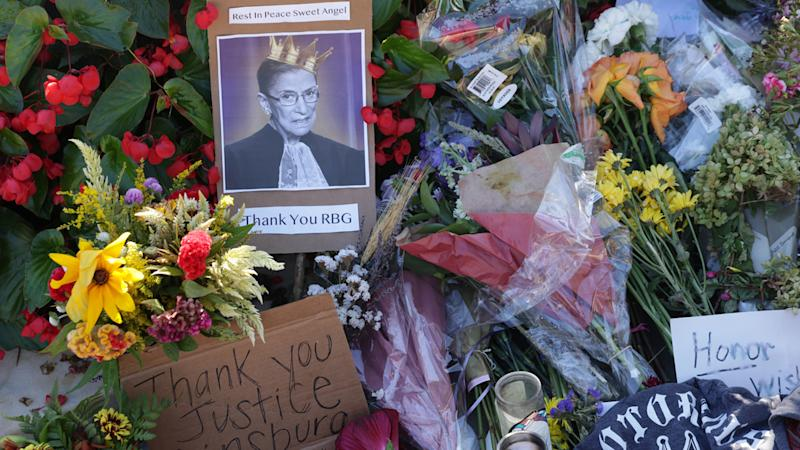 Makeshift memorial for Ruth Bader Ginsburg