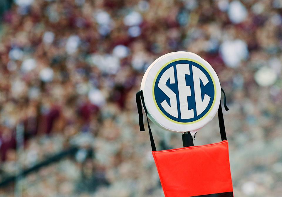 Sep 3, 2016; College Station, TX, USA; The SEC logo on the chains during a game between the Texas A&M Aggies and the UCLA Bruins at Kyle Field. Texas A&M won in overtime 31-24. Mandatory Credit: Ray Carlin-USA TODAY Sports
