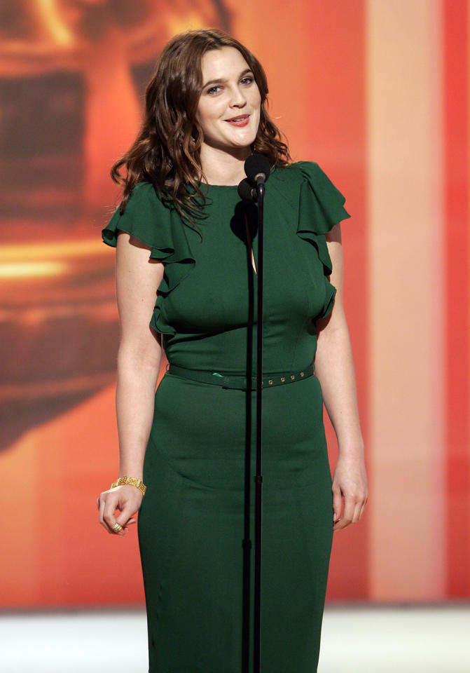 "Worst lack of undergarments: Drew Barrymore The towering belle of the Leprechaun Ball, Drew Barrymore maybe could've gotten away with looking like she skinned someone's pool table in 2006. Going Gucci green wasn't as much of a sin as going braless, in a town where Spanx is a verb. Being a Barrymore, the Hollywood royal made amends by spoofing her own assets for ""Saturday Night Live."" As she told Elle, ""I've gotten ripped plenty... I mean, I wore daisies in my hair to the Academy Awards once and people were vomiting on the floors, but that won't ever stop me. I love rolling with it."""
