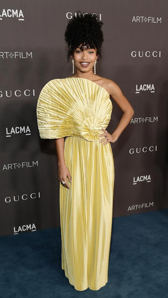 Golden Gucci? Yes, please! Yara Shahidi wore this stunning gold Gucci gown and certainly shined.