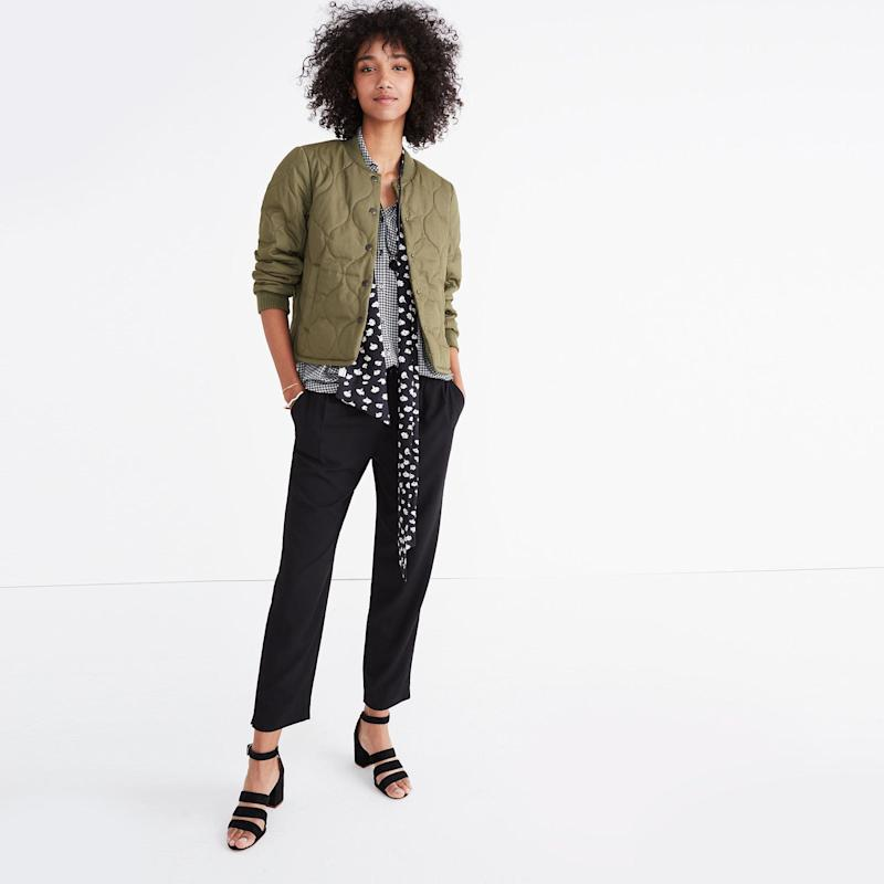 """Get them at <a href=""""https://www.madewell.com/madewell_category/PANTSSHORTS/pants/PRDOVR~G8466/G8466.jsp"""" target=""""_blank"""">Madewell</a>."""