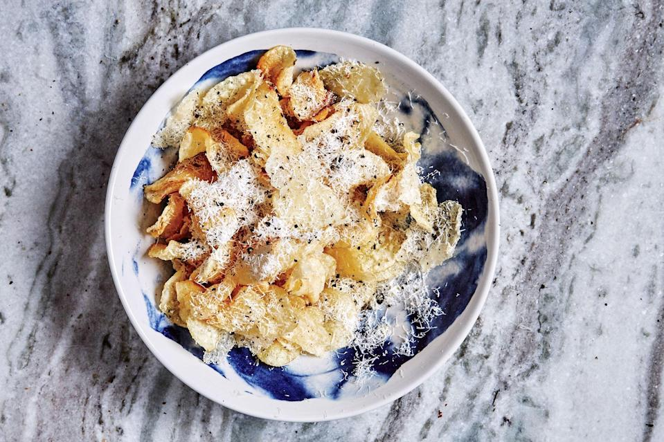 """Chips, but better. If you're into the <a href=""""https://www.epicurious.com/recipes/food/views/tonnarelli-a-cacio-e-pepe?mbid=synd_yahoo_rss"""" rel=""""nofollow noopener"""" target=""""_blank"""" data-ylk=""""slk:pasta dish"""" class=""""link rapid-noclick-resp"""">pasta dish</a>, you'll love these. <a href=""""https://www.epicurious.com/recipes/food/views/cacio-e-pepe-chips?mbid=synd_yahoo_rss"""" rel=""""nofollow noopener"""" target=""""_blank"""" data-ylk=""""slk:See recipe."""" class=""""link rapid-noclick-resp"""">See recipe.</a>"""