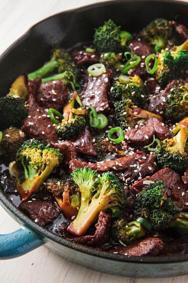 """<p>It's so much better than takeout, great served with rice or even on its own.</p><p>Get the recipe from <a href=""""https://www.delish.com/cooking/recipe-ideas/recipes/a46827/beef-and-broccoli-stir-fry-recipe/"""" target=""""_blank"""">Delish</a>. </p>"""