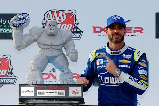"<a class=""link rapid-noclick-resp"" href=""/nascar/sprint/drivers/213/"" data-ylk=""slk:Jimmie Johnson"">Jimmie Johnson</a> beat <a class=""link rapid-noclick-resp"" href=""/nascar/sprint/drivers/3156/"" data-ylk=""slk:Kyle Larson"">Kyle Larson</a> on Sunday. (Getty)"